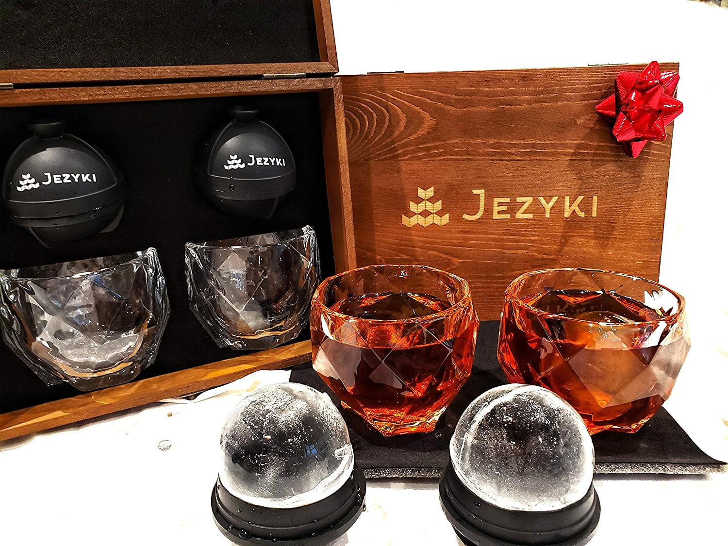 Whiskey barware set- Crystal Whiskey, Bourbon, Scotch glasses set of 2 old fashioned glasses with 2 XL chilled silicone ice ball molds in elegant wooden gift box.