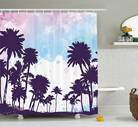 Tropical Shower Curtain By Ambesonne Coconut Palm Tree Silhouettes Summer Holiday Watercolors Picture Fabric