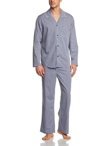 Seidensticker Lang, Pijama De Dos Piezas para Hombre, Azul/Blanco, XXL