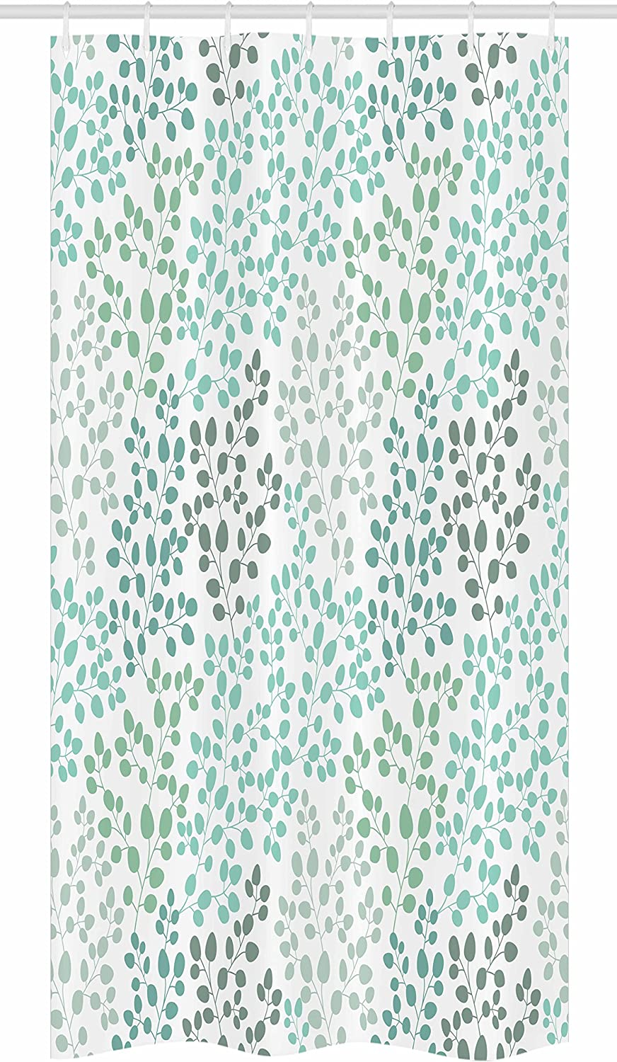 Ambesonne Leaf Stall Shower Curtain, Pattern with Leaf Branches Silhouette Nature Theme Foliage Forest, Fabric Bathroom Decor Set with Hooks, 36