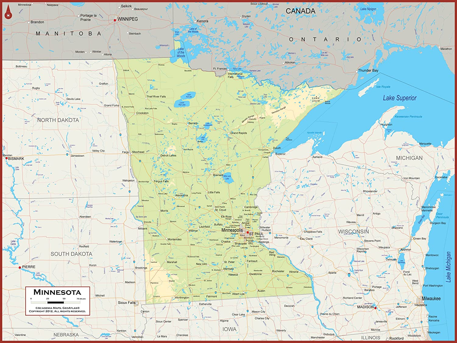 Amazon.com : Academia Maps - Minnesota State Wall Map - Fully ...