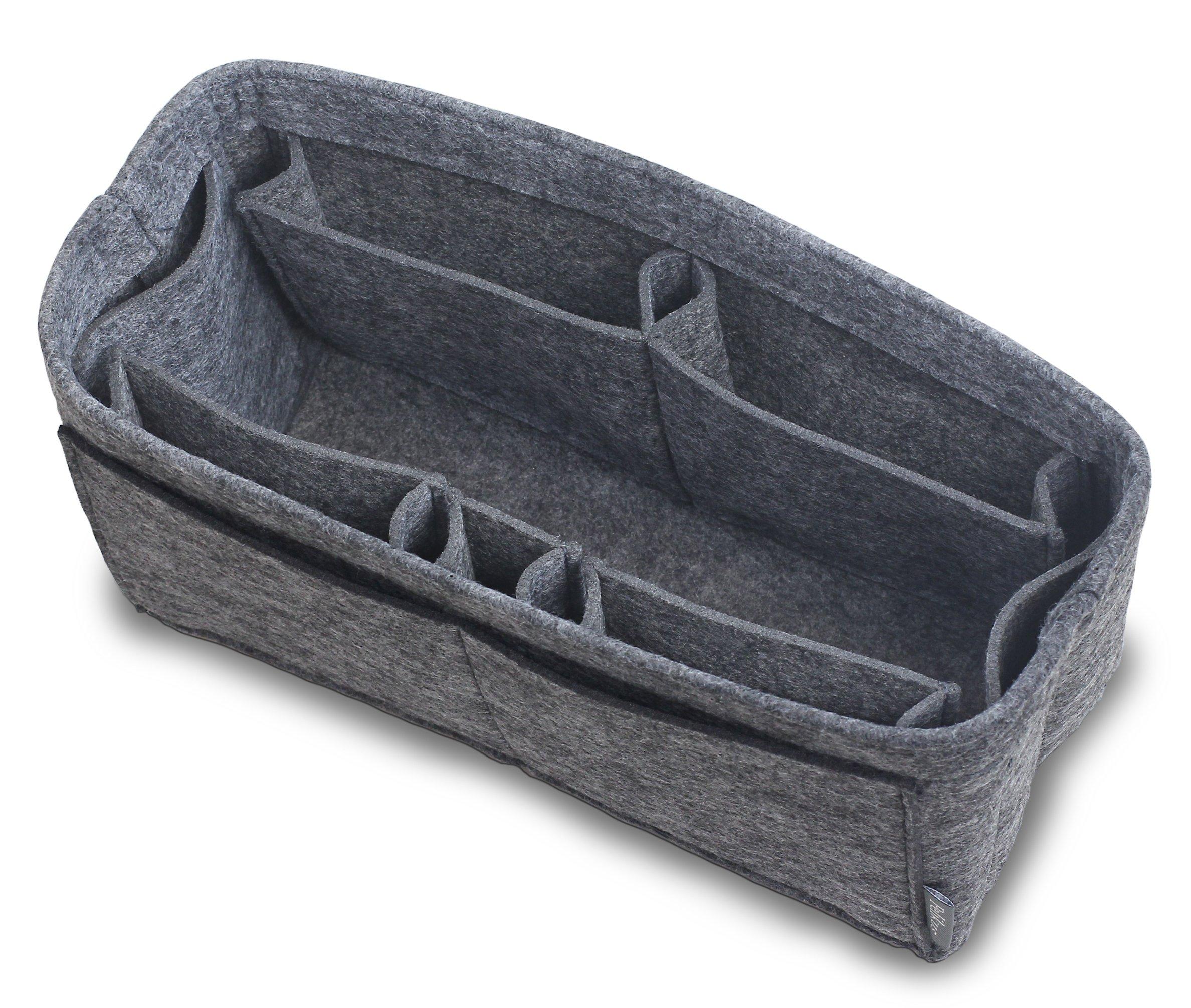 Pelikus Felt Purse and Tote Organizer Insert/Sturdy Structured Handbag Shaper (Large–Slender, Grey)