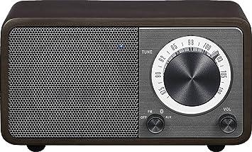 Sangean WR-9DK Wood Cabinet Mini Bluetooth Speaker with FM Radio Tuner and  Aux-in Dark Cherry/Wood