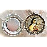 Saint Therese of Lisieux, Santa Teresa, Locket Handmade Necklace Catholic Christian Religious Jewelry Medal Pendant