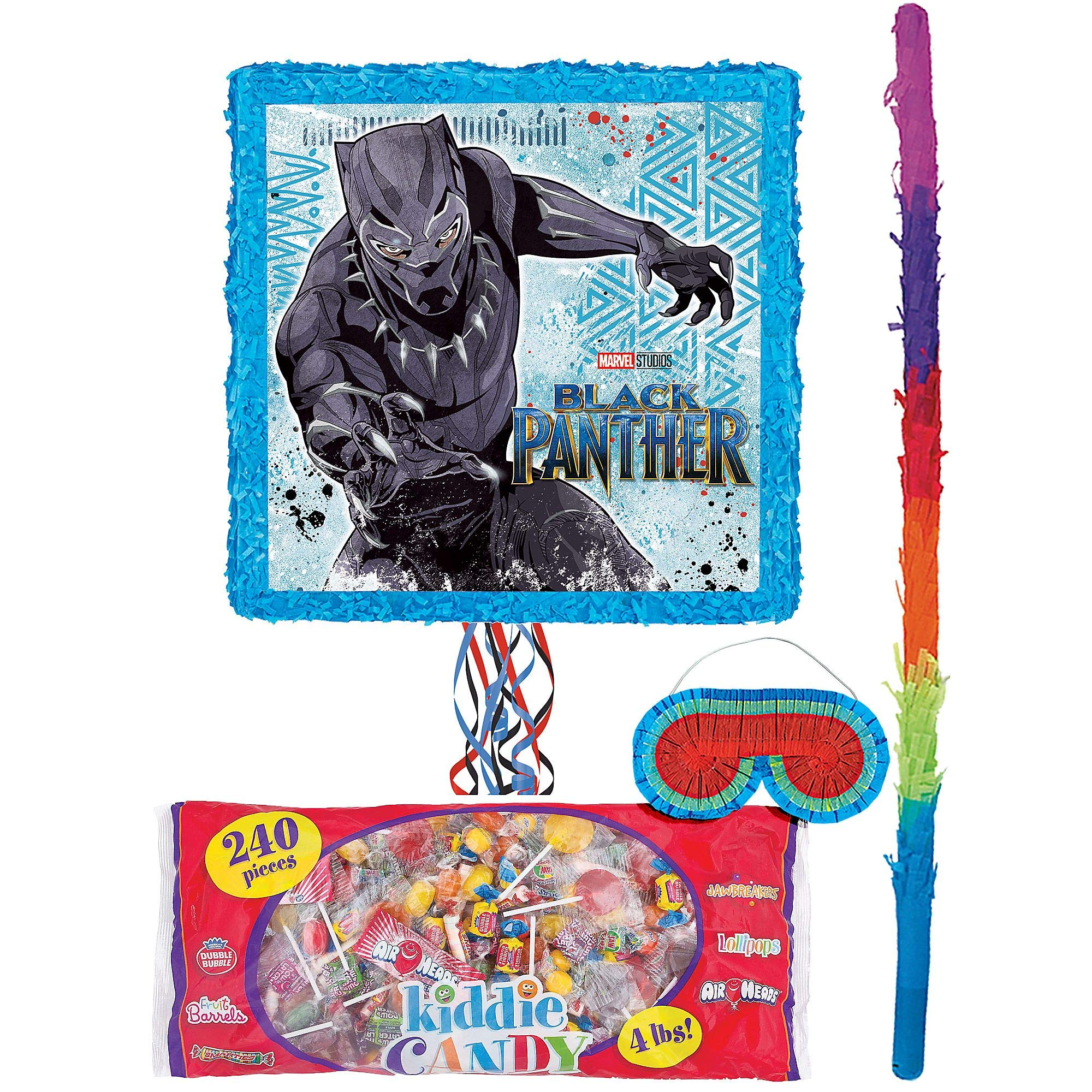 Party City Black Panther Pinata Kit for Birthday Party, Includes Bat, Blindfold and Kiddie Candy Mix (4lb bag)