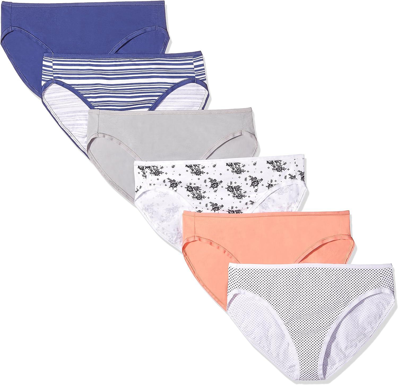 Essentials Womens Cotton Stretch High-Cut Bikini Underwear