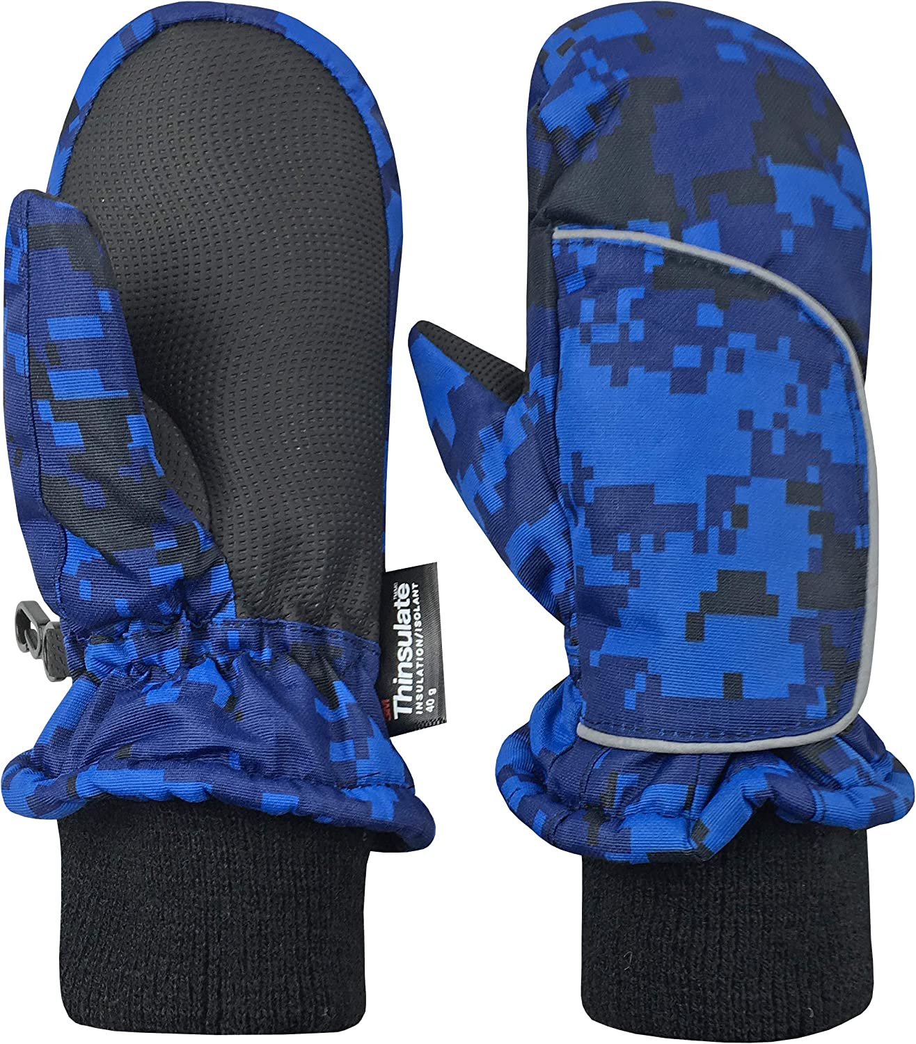Blue Digital Camo, 4-5 Years NIce Caps Kids and Baby Easy-On Wrap Waterproof Thinsulate Winter Snow Mitten