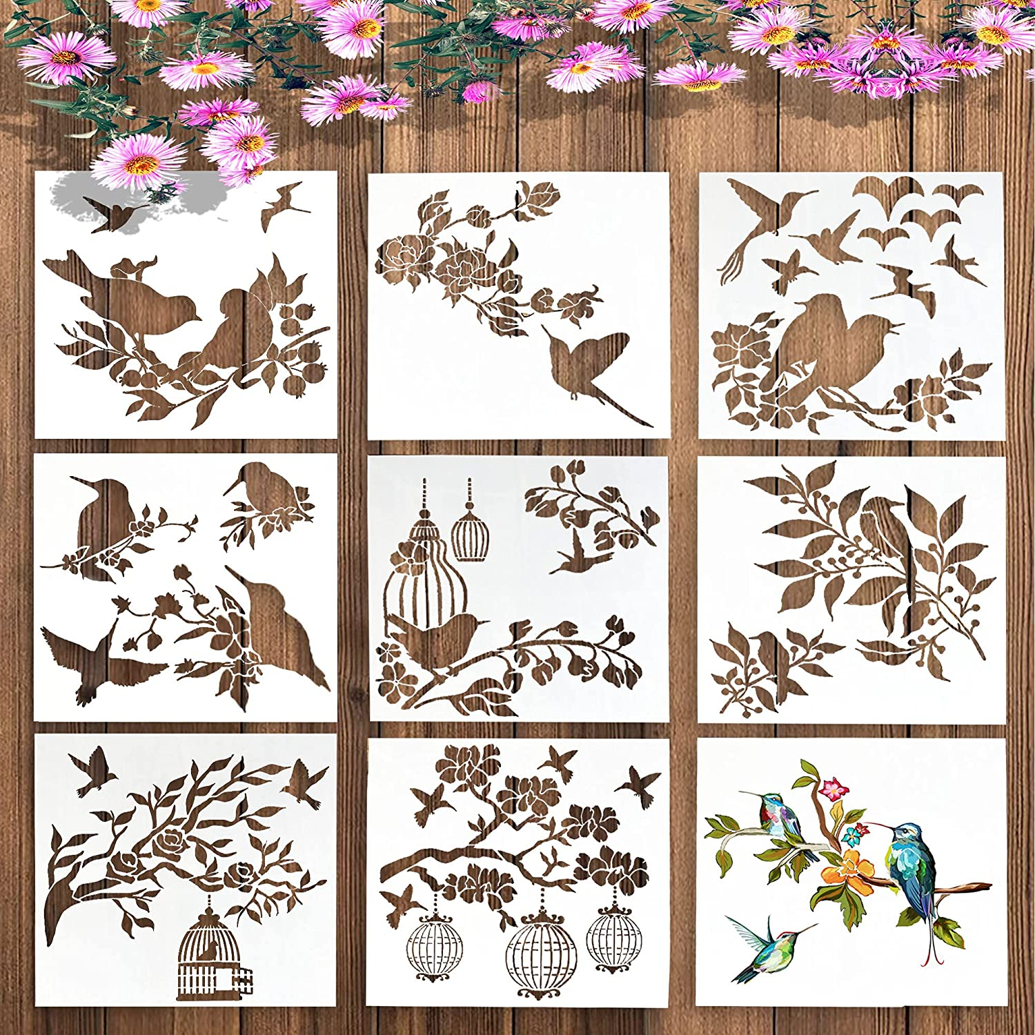 9PCS Birds Stencils for Painting-Large Flying Bird Stencil-Reusable Bird Tree Branches Stencil-Bird Flower Leaf Drawing, Bird Stencils For Walls Furniture Wood, Arts And Crafts, Kids, Plank 9 x 9 Inch