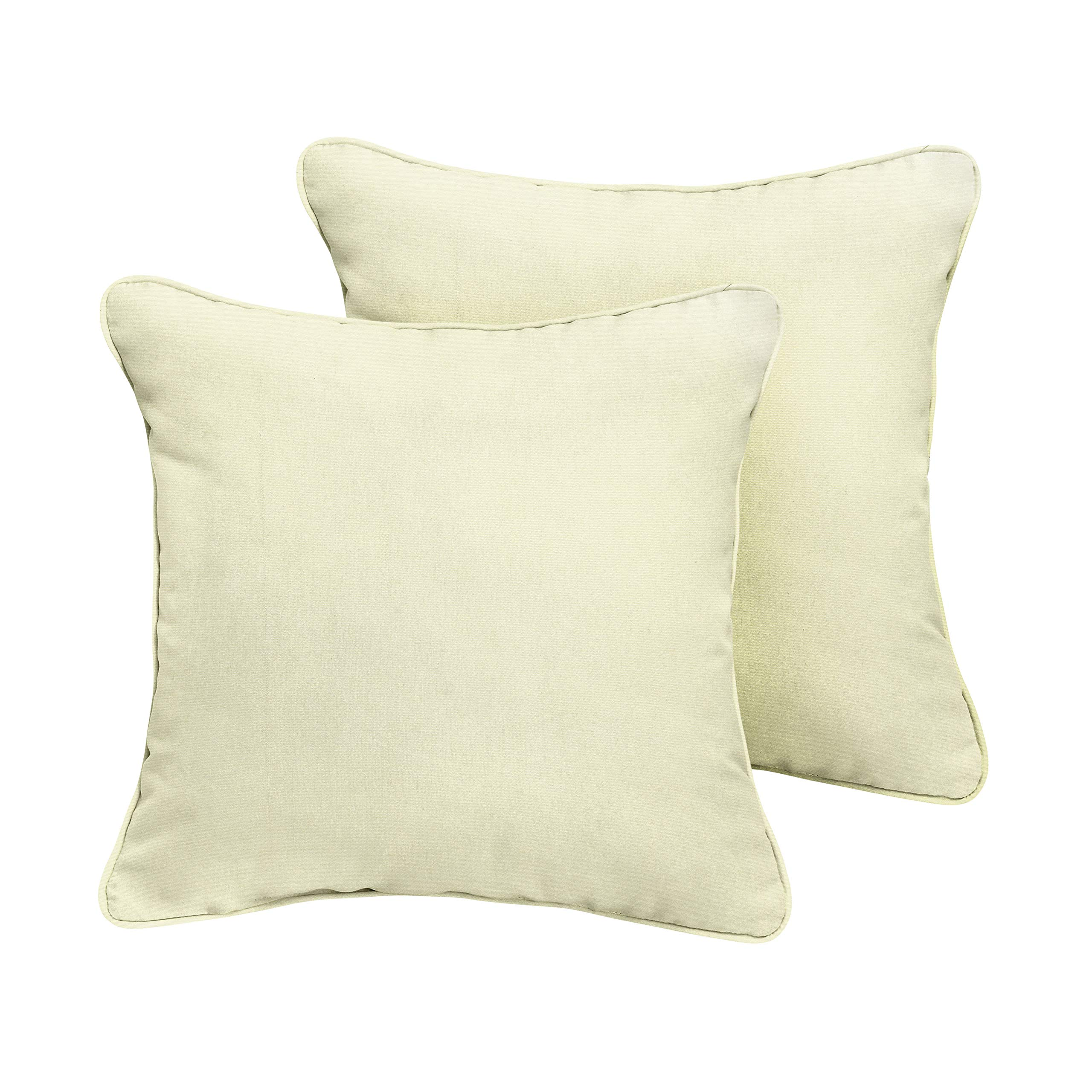 1101Design Sunbrella Canvas Natural Corded Decorative Indoor/Outdoor Square Throw Pillow, Perfect for Patio Decor - Canvas Ivory 24'' (Set of 2)
