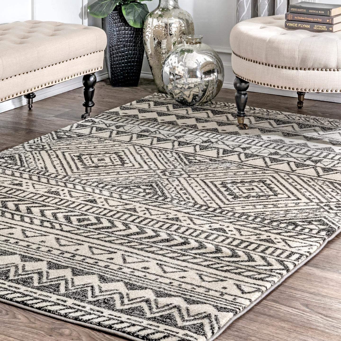 nuLOOM Becky Tribal Area Rug, 6 Round, Dark Grey