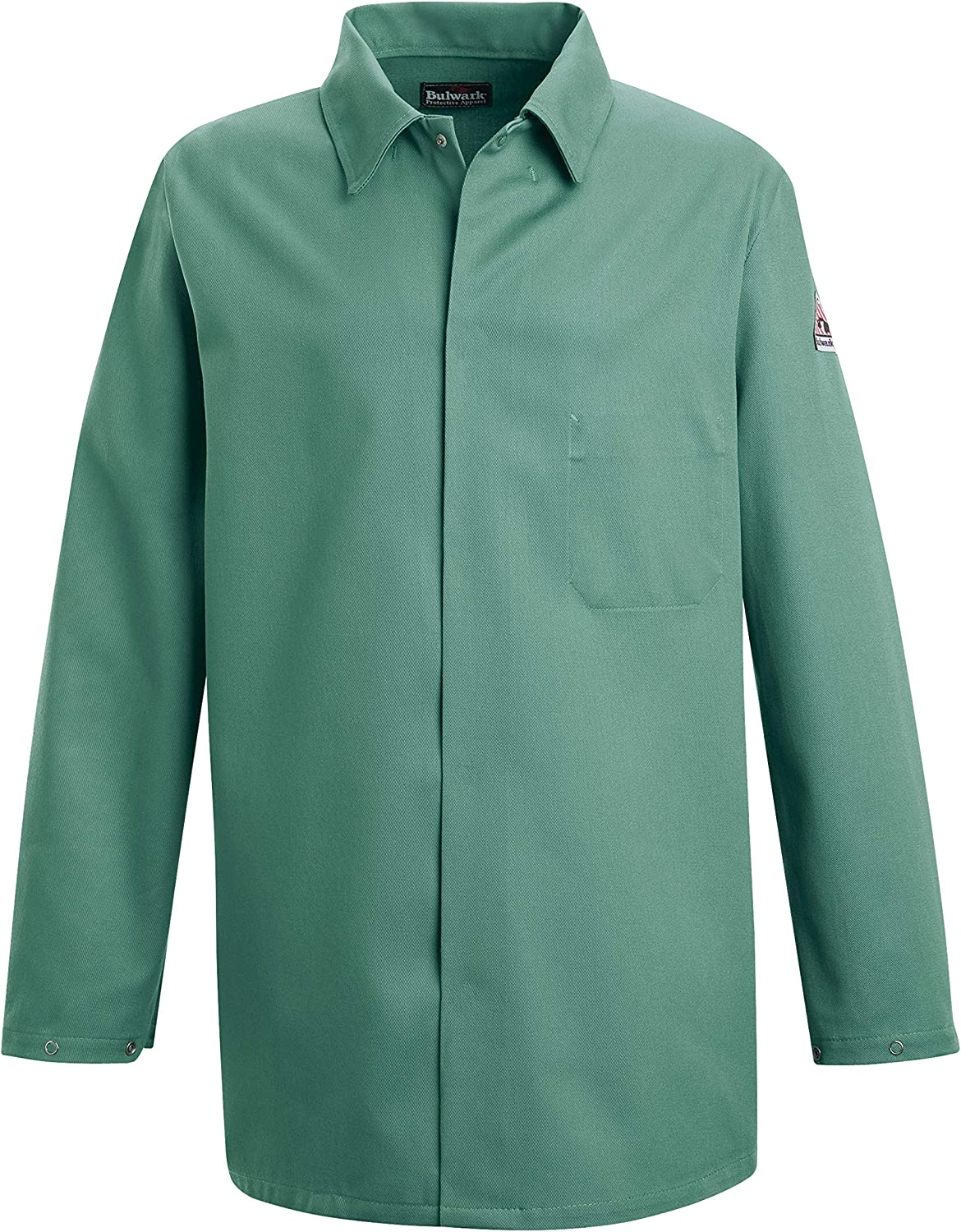 Bulwark Flame Resistant 9 oz Twill Cotton Excel FR Regular Work Coat with Top Stitched Collar, Visual Green: Clothing