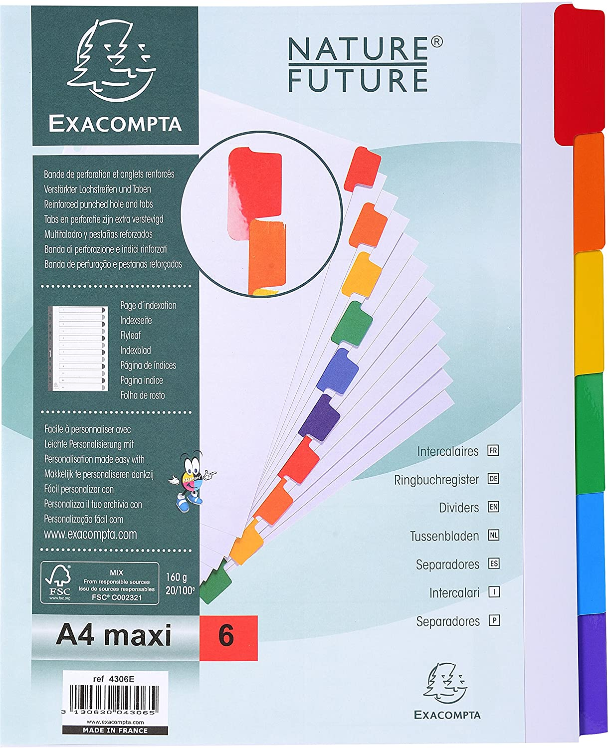 Exacompta A4 Dividers, 160 gsm, 10 Part, White with Coloured Tabs ExaClair 2310E