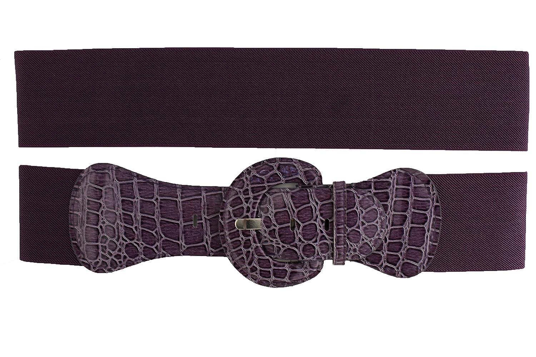 TFJ Women Fashion Belt Hip Elastic High Waist Stretch Band Big Buckle Purple