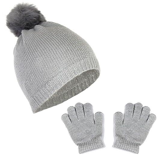 b0f68bb7 Girls Metallic Stretch Knit Beanie Lurex Fur Pom Winter Hat and Sparkle  Gloves Gift Set (Heather Grey Shimmer)