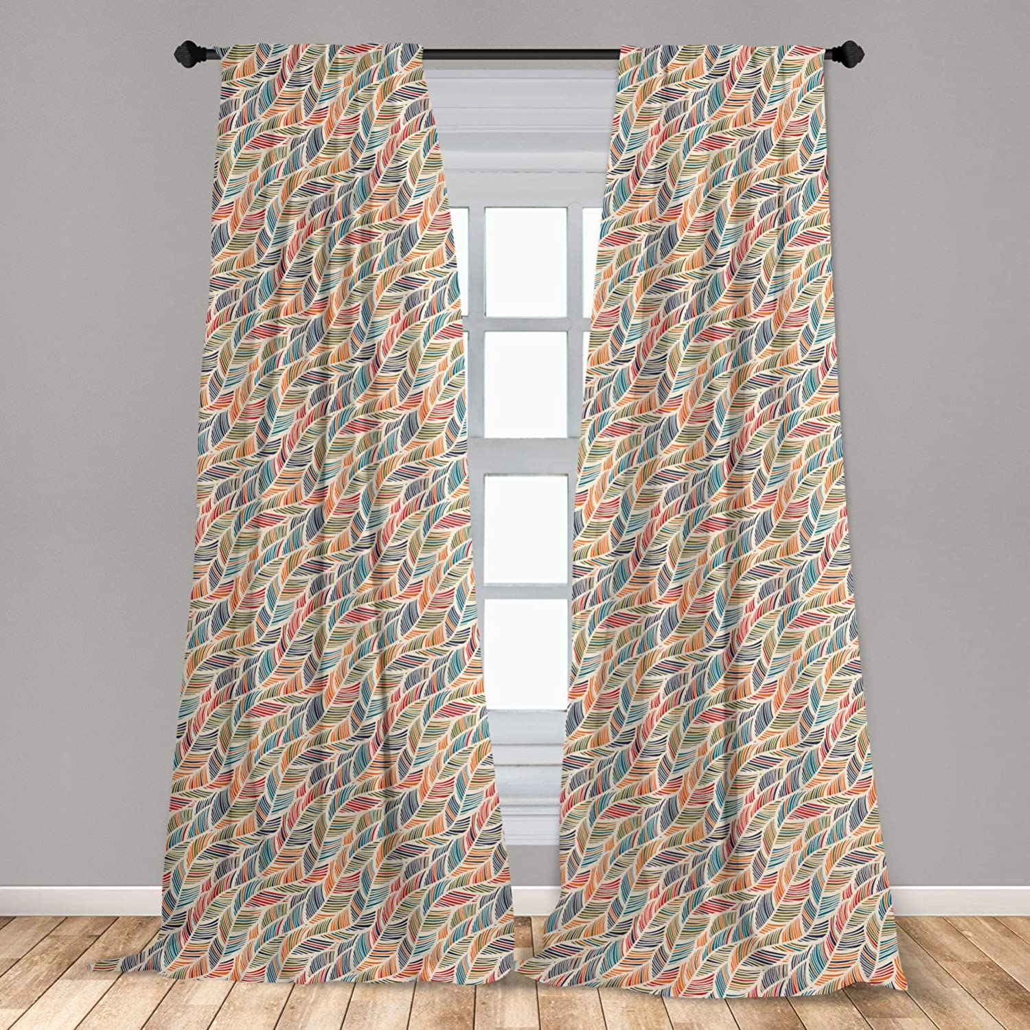 Ambesonne Boho Curtains, Abstract Feather Wave Pattern with Retro Look and Colorful Short Lines Curves, Window Treatments 2 Panel Set for Living Room Bedroom Decor, 56