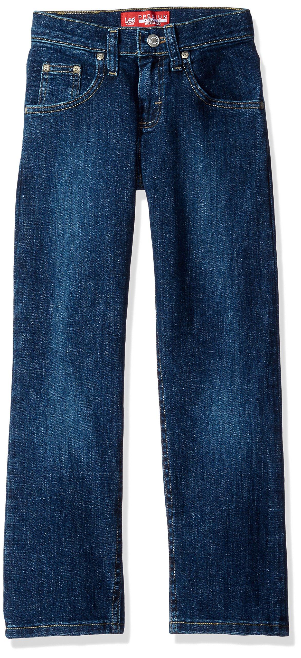 Lee Big Boys' Premium Select Regular Fit Straight Leg Jeans, Murphy Handsand, 14 Husky
