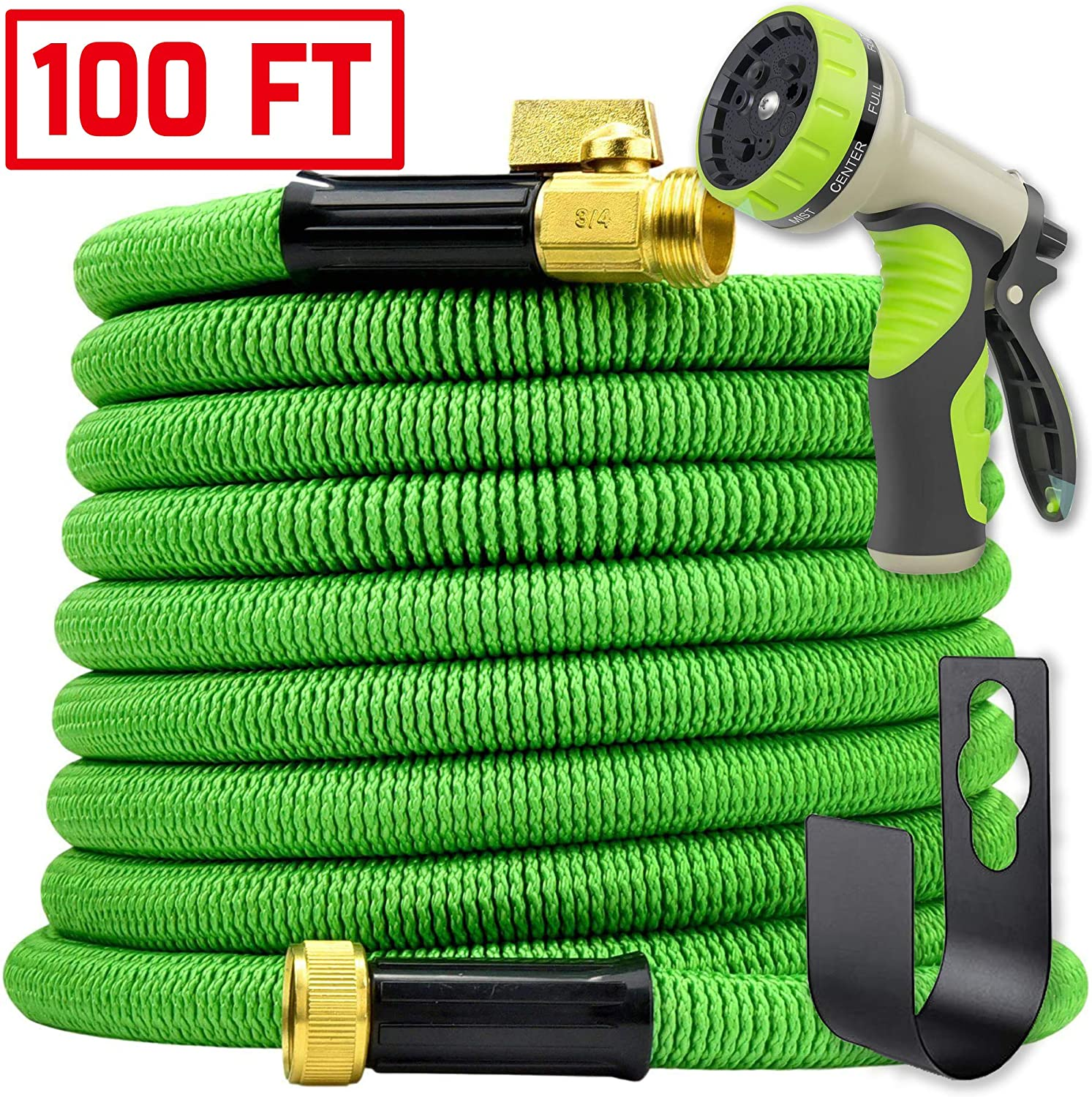 Water Hose 100ft Expandable w/Nozzle – Heavy Duty Flexible Leakproof Retracting Hose – 9-Pattern High-Pressure Water Spray Nozzle & Bag & Hanger – No Kink Tangle Free Water Hose (Green)