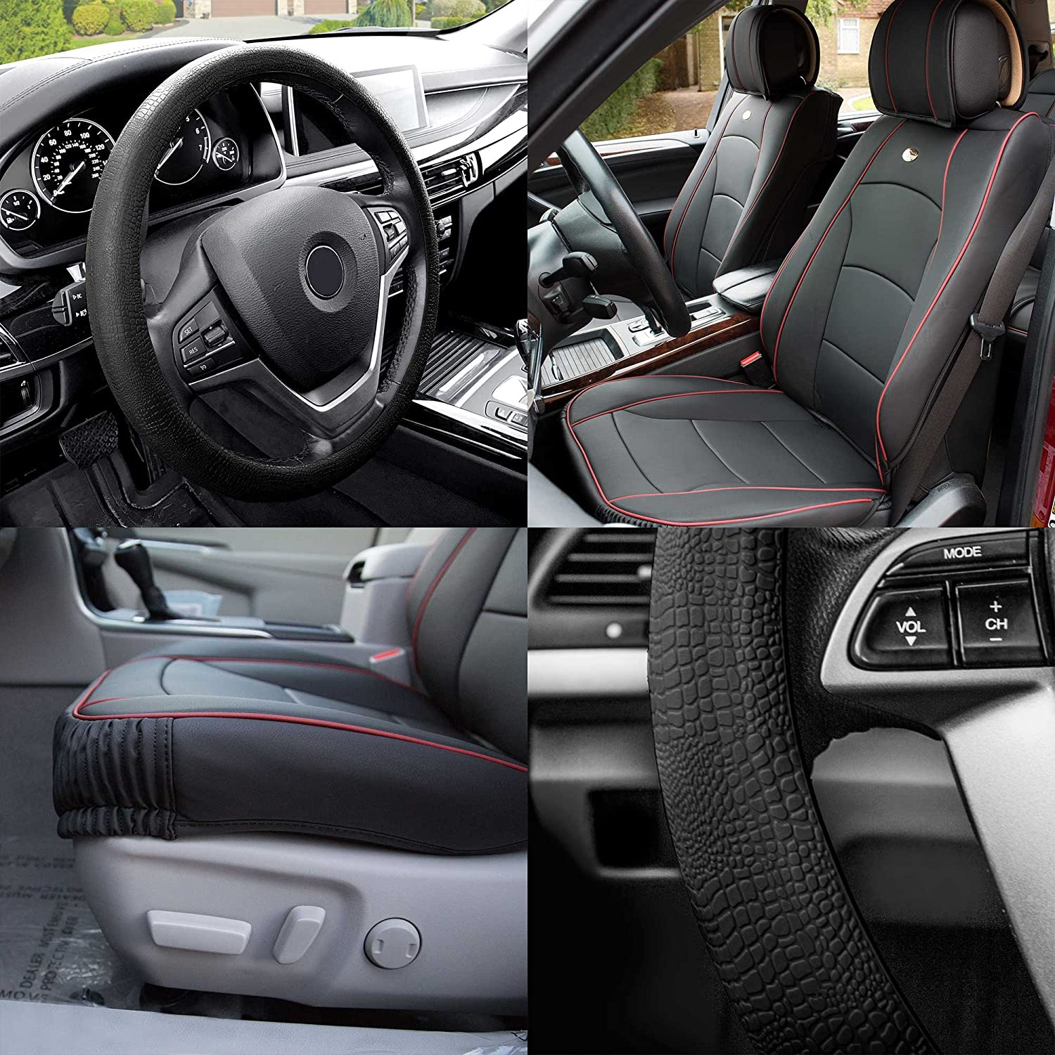 FH Group PU205102 Ultra Comfort Leatherette Cushion Pad Pair Set Seat Covers, Black w. Red Trim Color - Fit Most Car, Truck, SUV, or Van