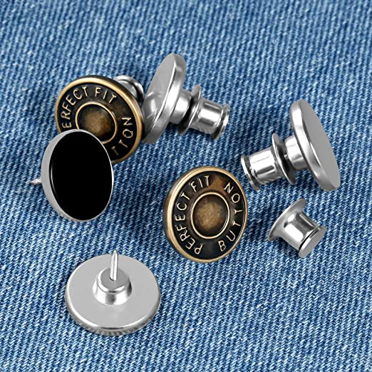 Upgrated Button Pins for Jeans Waists Pants Tightener Adjuster 6 Sets Instant Button Bottom Pins Clips on Replacement Adjustable Repair Kit for Women Men to Resize Reduce Tighten Jeans Waist Pants