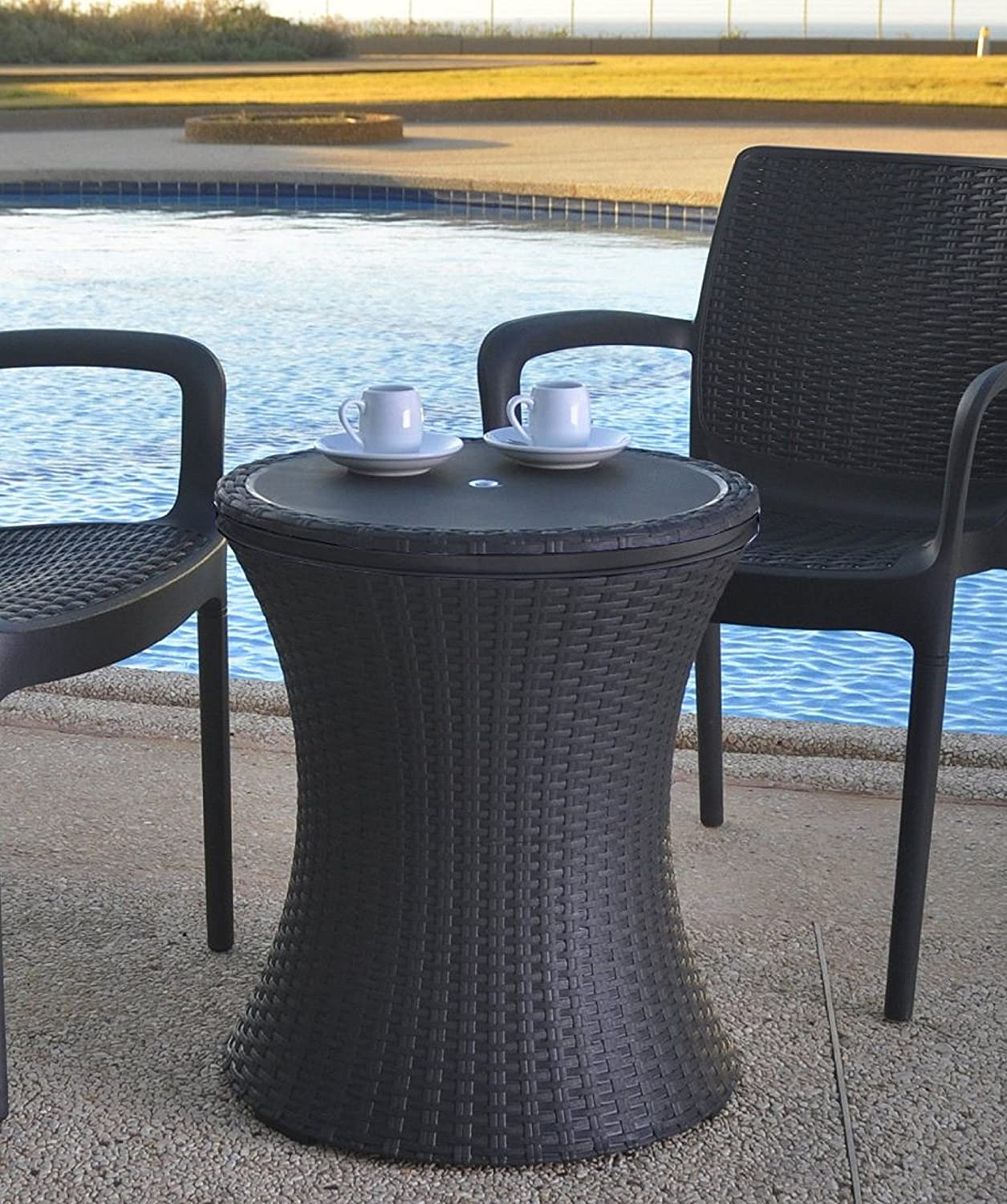 Outdoor Table Part - 48: Amazon.com : Keter 7.5-Gal Cool Bar Rattan Style Outdoor Patio Pool Cooler  Table, Brown : Wicker Cooler : Garden U0026 Outdoor