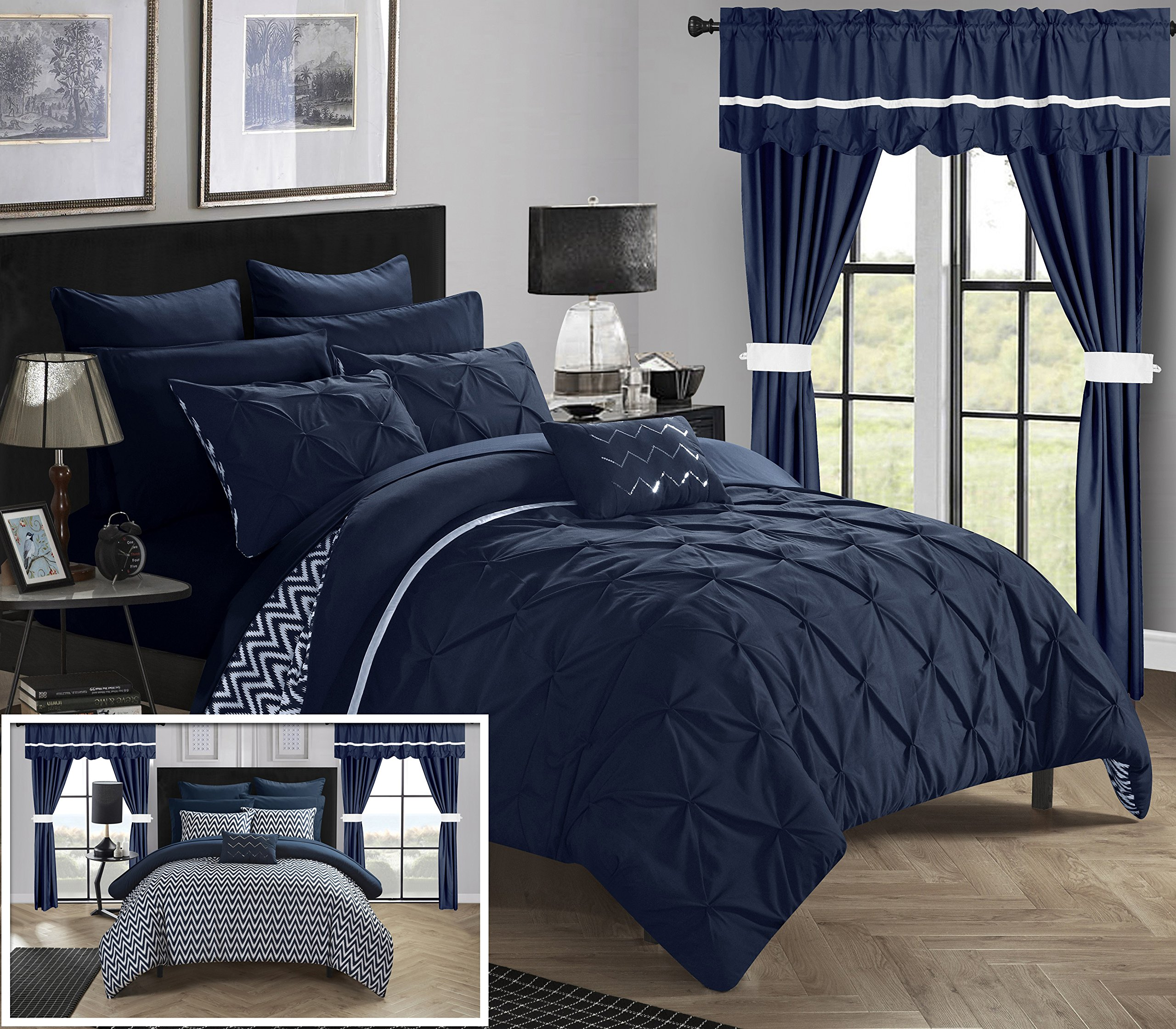 Chic Home CS0574-AN 20 Piece Jacksonville Complete Bed Room In A Bag Super Pinch Pleated Design Reversible Chevron Pattern Comforter Set, Sheets Window Treatments And Decorative Pillows, King, Navy
