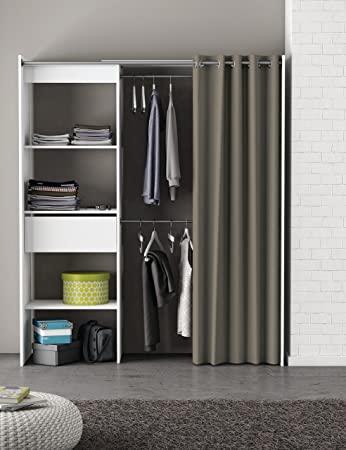 Schrank Schlafzimmer | Kleiderschrank Mit Vorhang Weiss B 169 Cm Schrank Wascheschrank