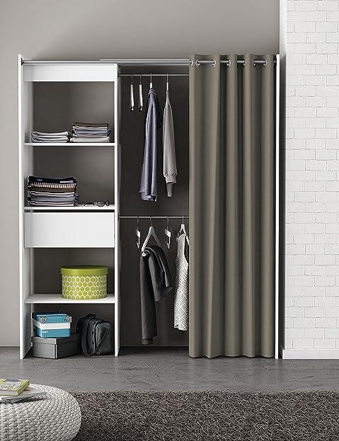 Offener kleiderschrank vorhang  Kleiderschrank mit Vorhang weiß B 169 cm Schrank Wäscheschrank ...
