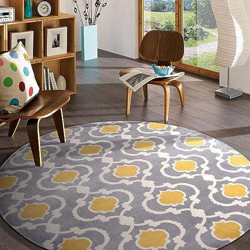 Moroccan Trellis Contemporary Indoor Round Area Rug 6'6″ Gray/Yellow 6' 6″ Diameter