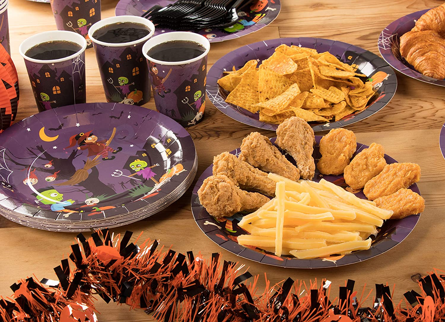 Paper Plates Black and White Party Supplies Napkins Disposable Dinnerware Set Forks Serves 24 Cups for Halloween Party Spoons Includes Plastic Knives