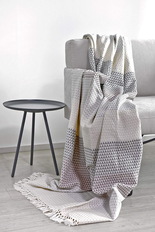 color gris malva acogedora bohemio estampado rosa palo manta de dormir 150 x 200 cm manta de sof/á colcha Nielsen Plaid Dana blanco y blanco Manta manta de picnic algod/ón
