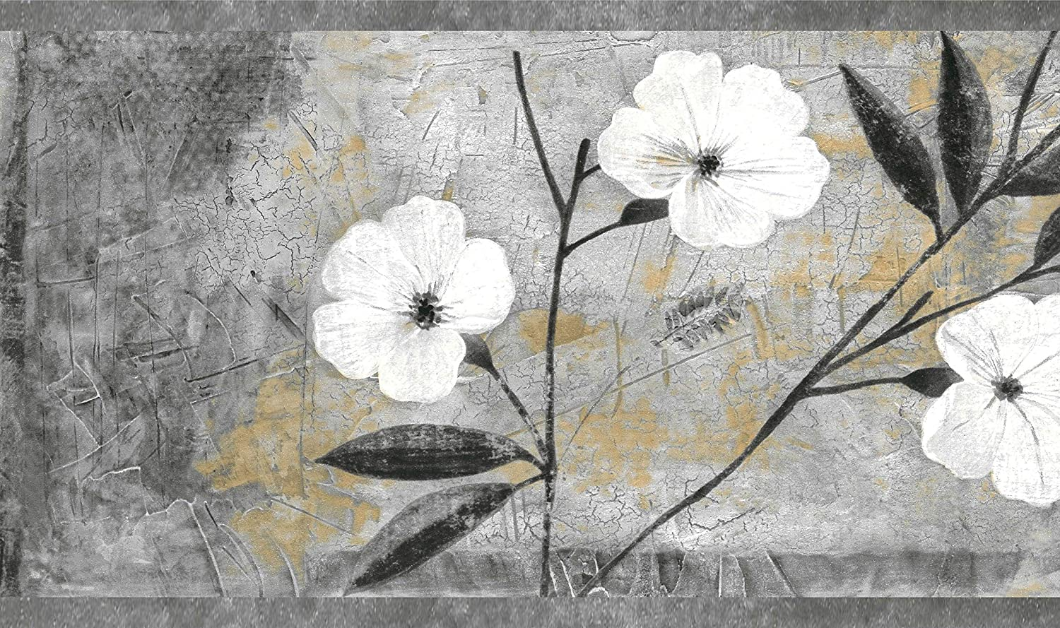 Dundee Deco MGAZB6004 Peel and Stick Floral White Blooming Flowers Self Adhesive Mirror Window Sticker Wallpaper Border 10m X 10cm Roll 33 ft X 4 in
