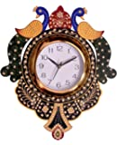 TrustZone Wooden Peacock Emboss Painting Wall Clock (Multicolor)