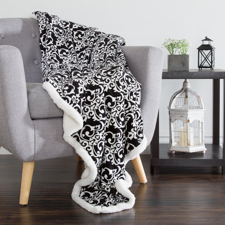 Lavish Home Fleece Sherpa Blanket Throw-Black//White 50 x 60