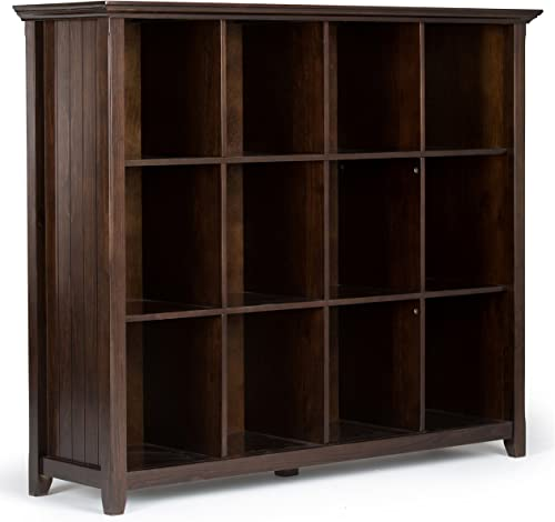 Simpli Home AXWELL3-015 Acadian Solid Wood 48 inch x 57 inch Rustic 12 Cube Storage in Tobacco Brown