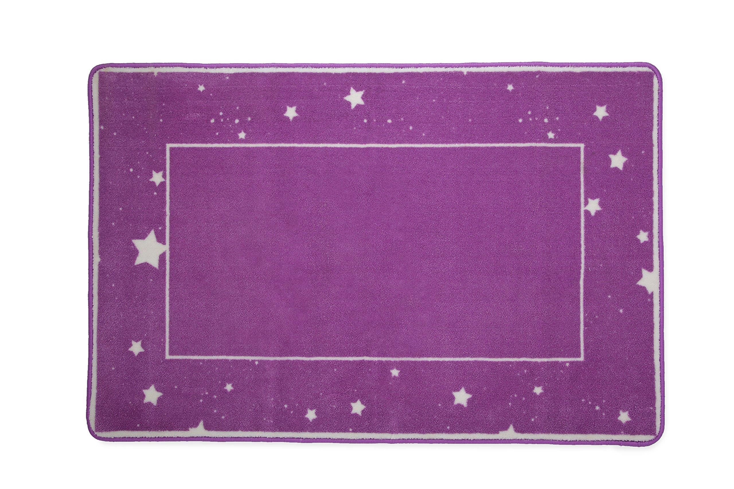Kids Area Rug, Girls Starry Night   Children's Room Carpet   Delta Children   Purple with Stars