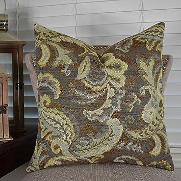 Nice Thomas Collection Decorative Paisley Throw Pillow, Floral Throw Pillow,  Gray Blue Light Green Floral