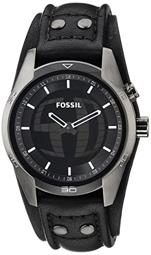 Fossil Mens JR1472 Coachman Stainless Steel Ana-Digi Watch with Black Leather Band