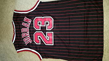 info for 73196 a1050 NBA Chicago Bulls Black Red Stripe Jersey, Michael Jordan (Adult Large=L)