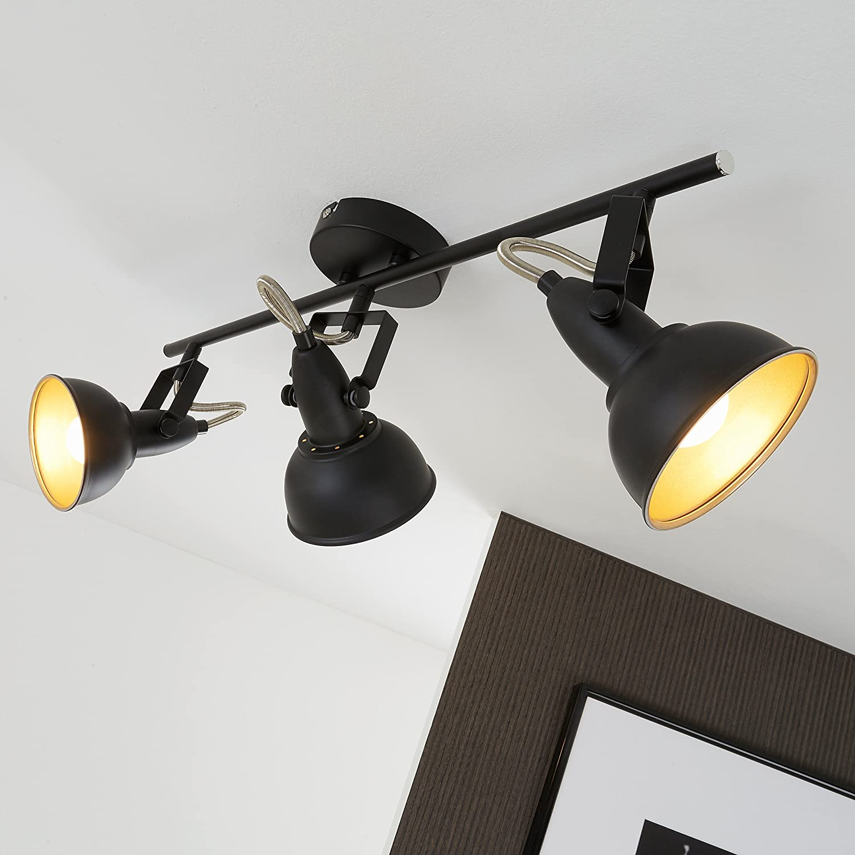 orientabili Briloner Leuchten Faretti retro 3 40 W nero e oro luci da soffitto vintage montaggio E14 55.4 x 18.1 x 10 cm max L x A x P