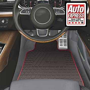FORD MONDEO 2007-2014 FULLY TAILORED CAR MATS BLACK CARPET WITH WHITE EDGING