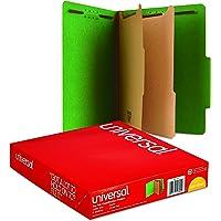 Universal 10302 Pressboard Classification Folders, Letter, Six-Section, Emerald Green (Box of 10)