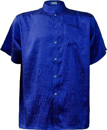 Camisa de hombre de manga corta Tailandia seda mandarina ...