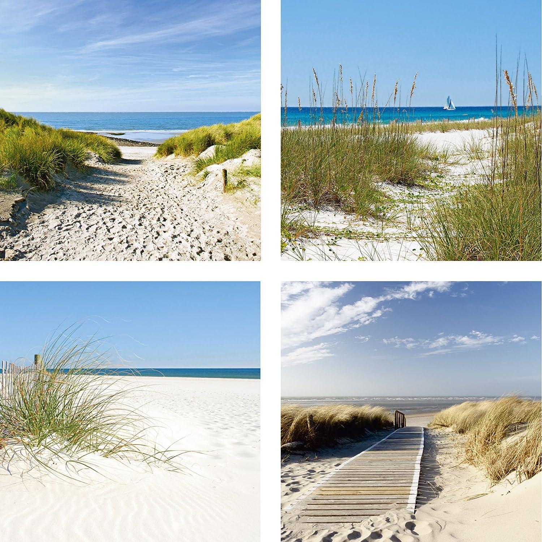 Artland Qualitätsbilder   Glasbilder Deko Glas Bilder 4 tgl. je 40 x 40 cm mehrteilig Landschaften Nordsee Strand Dünen Sand F2AY Meer