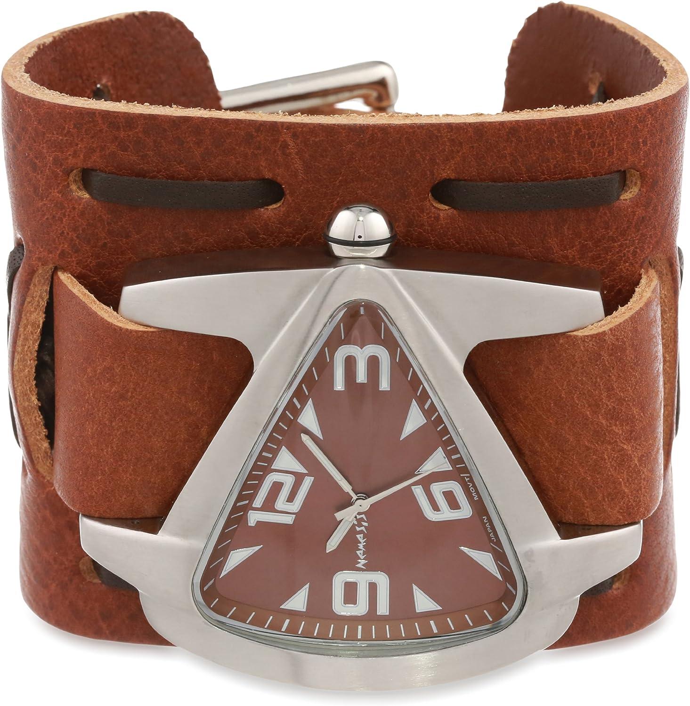 Nemesis Men s TBWXB011B Signature Stainless Steel Teardrop Brown Dial Leather Cuff Watch