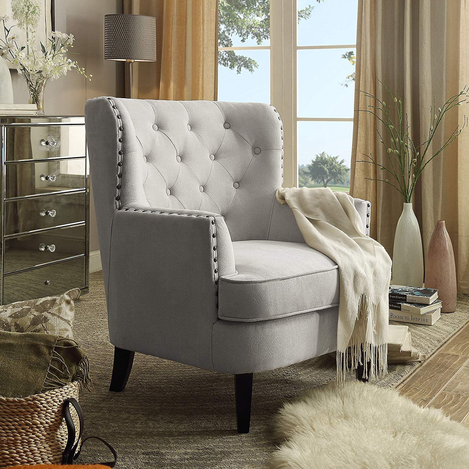 Rosevera Home Gustavo Collection Fabric Nailhead Club Chair, Contemporary Accent Chairs, Beige