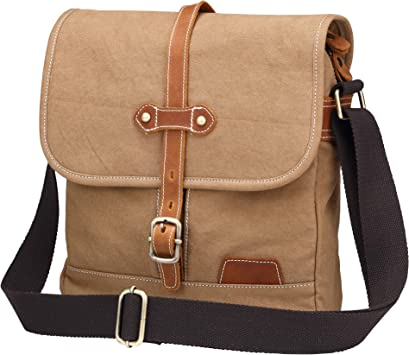 Men/'s Messenger Bag School Shoulder Bag Vintage Crossbody Satchel Canvas Leather