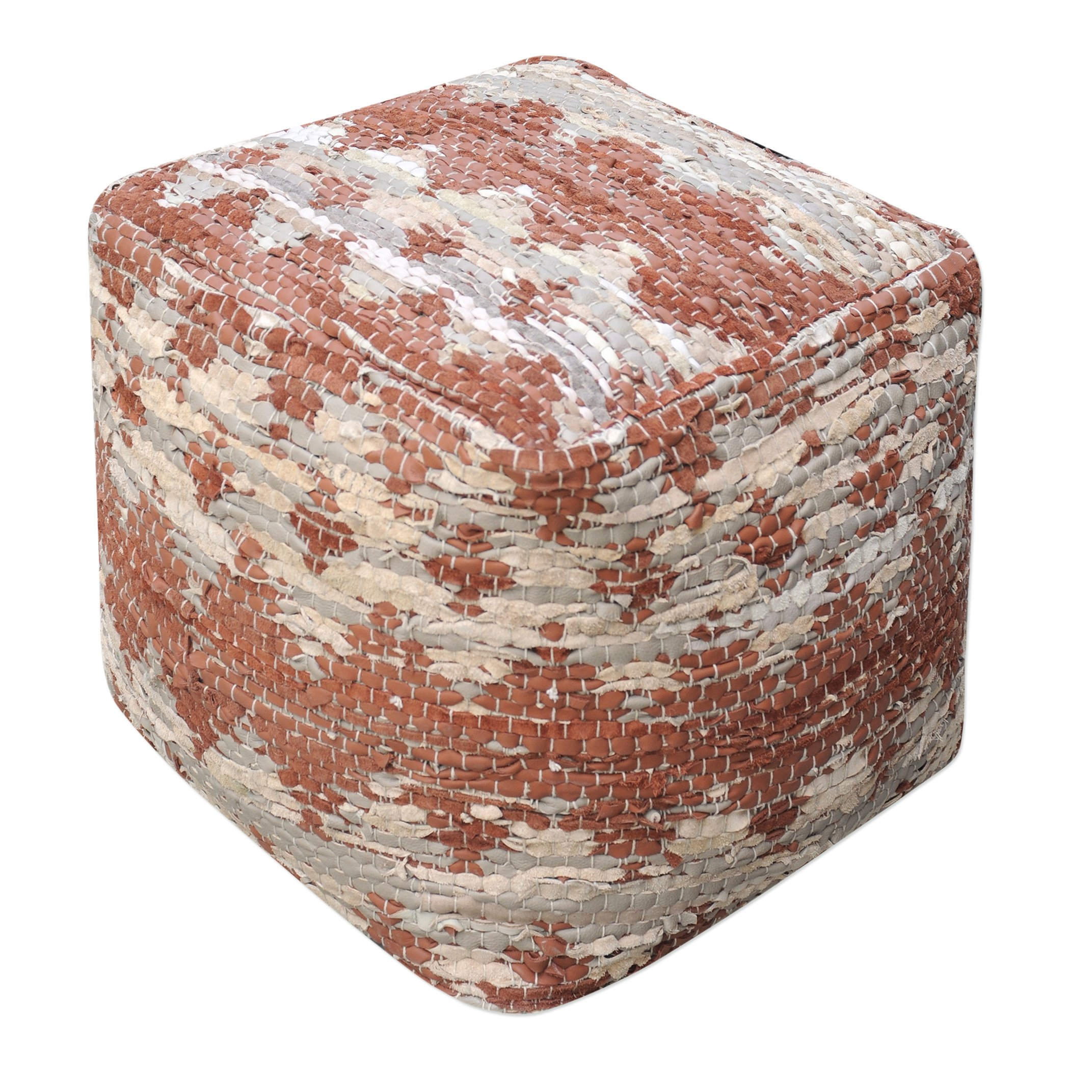 Aztec Pattern Rust Brown Beige Pouf | Ikat Tribal Cube Fabric Argyle Seat Square