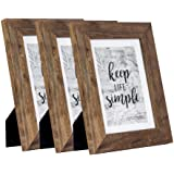 Picture Frame Made of MDF Wood for Tabletop Display and Wall Mounting Photo Frame Brown (5x7-3Pack)