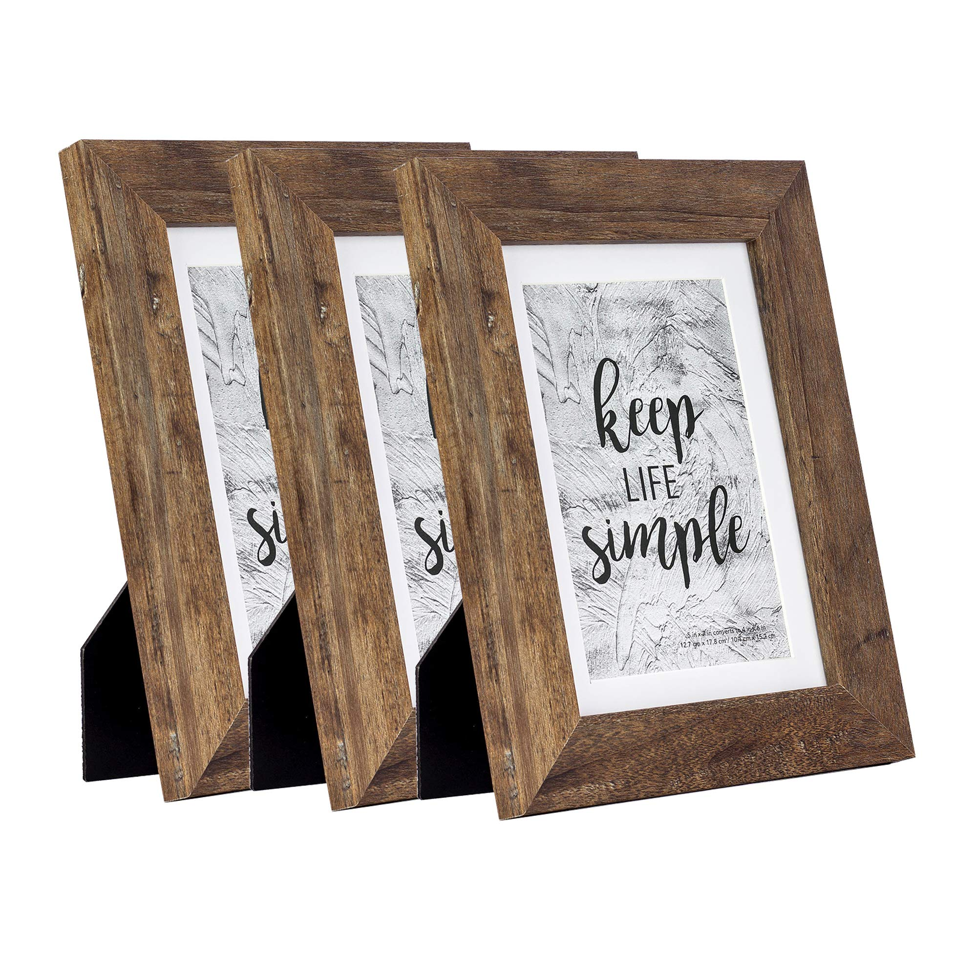 Home&Me 5x7 Picture Frame 3 Pack- Made to Display Pictures 4x6 with Mat or 5x7 Without Mat - Wide Molding - Wall Mounting Material Included by Home&Me