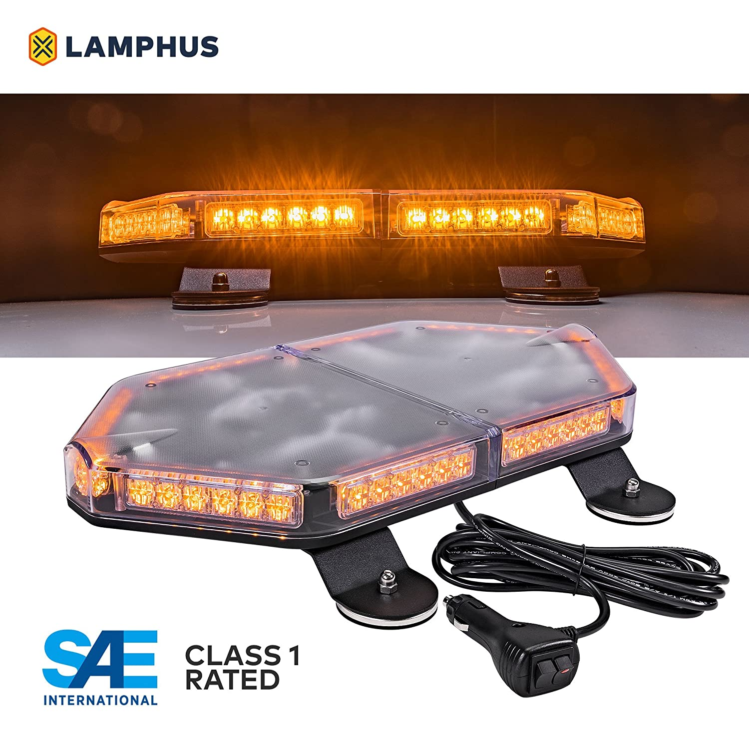 63 Flash Patterns LAMPHUS NanoFlare NFMB56 17 56W LED Mini Light Bar Magnet//Permanent Mount SAE Class 1 Green 12ft Cord Emergency Strobe Hazard Warning Light